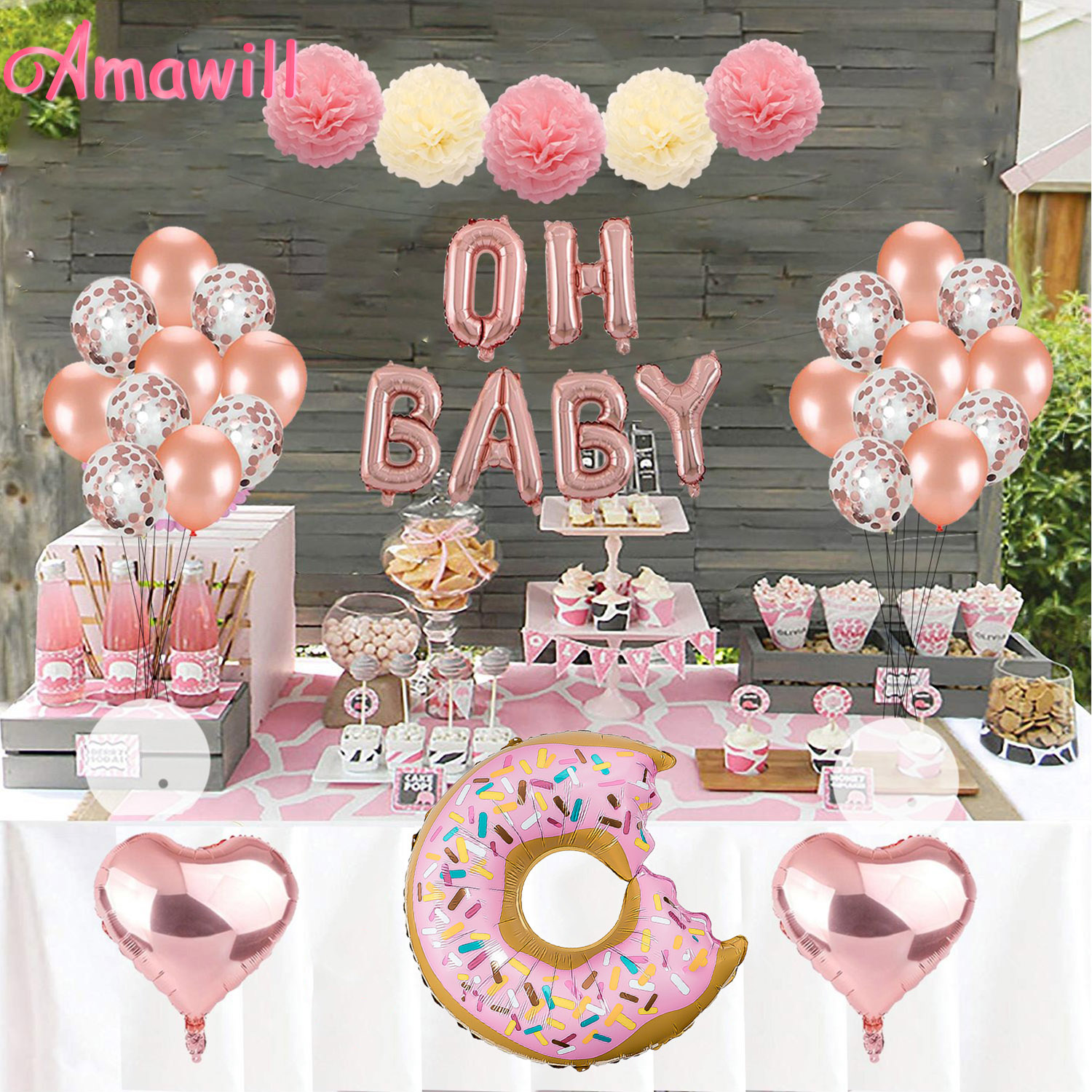 Amawill 16 Inch Rose Gold Oh Baby Letters Foil Balloons