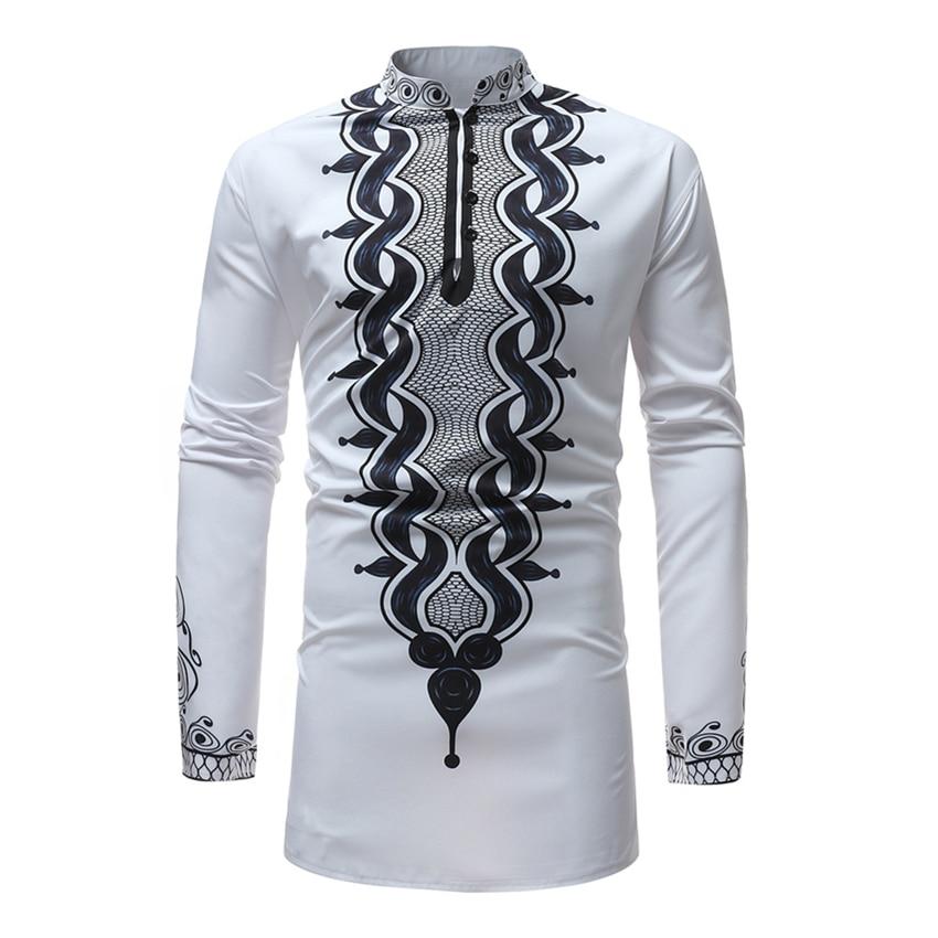Africa Style White Shirt Men Riche Bazin Print Long Sleeve Fashion T-shirts African Tight Long Dresses Dashiki for Man