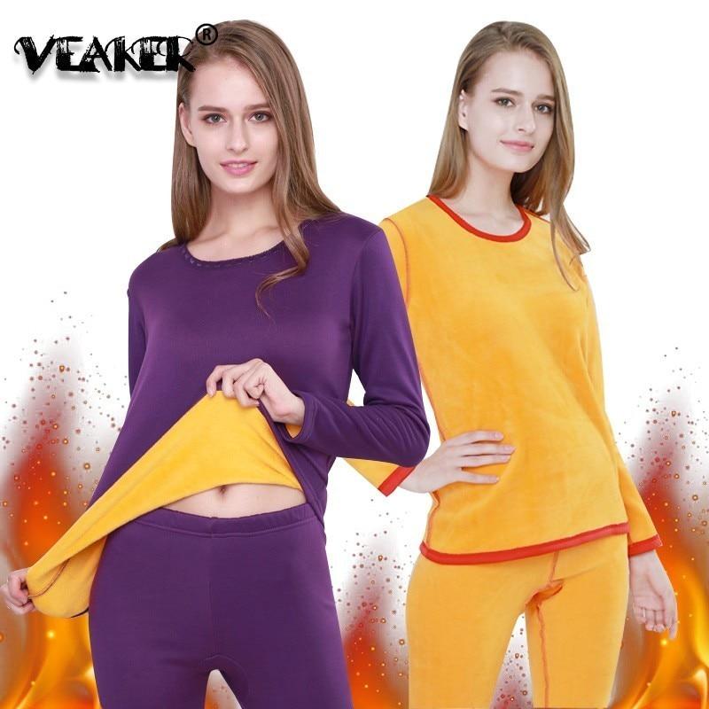 NEW Winter Long Johns Women Sexy Thermal Underwear Suit Womens Velvet Lace Thicken Slim Ladies Sets Female Fleece Warm Pajamas