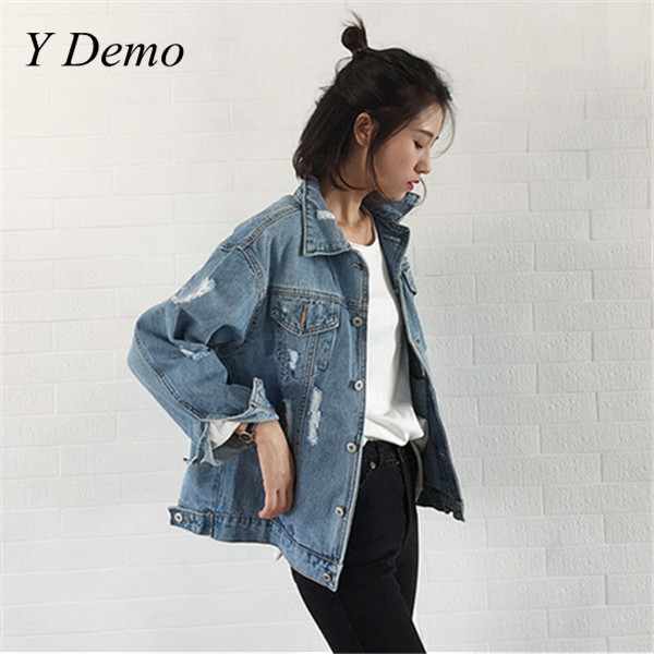 Spring Vintage Denim Jacket Women Frayed Holes Casual Single Breasted Fashion Oversized Jackets Outerwears