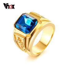 Vnox Big Stone Rings for Men Jewelry Gold Color Casting Dragon Party Ring(China)