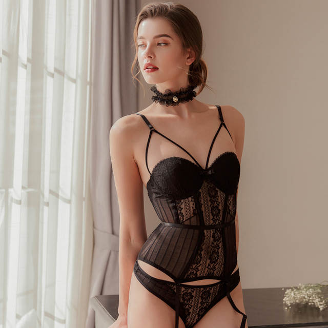 c8caf269f2 placeholder Sexy Transparent Lace Push Up Bra Corset Bustier with Cup  Girdle Set with Straps Belt Women