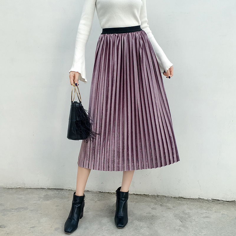 2019 New Pattern Spring Summer Women Clothes Velvet skirts Half-body Skirt Long Fund Skirt plus size S-5XL Free Shipping