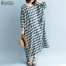 f0ad16759d98f Popular Women Dress Plaid Maxi Dress Three Quarter-Buy Cheap Women ...