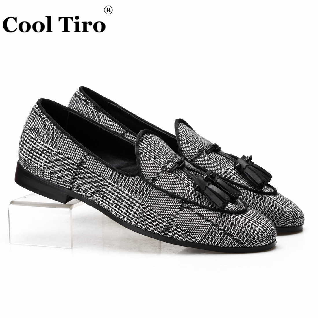 Cool Tiro Gingham Canvas Belgian Loafers Men s Smoking Slippers Moccasins Dress Shoes With Tassels Genuine