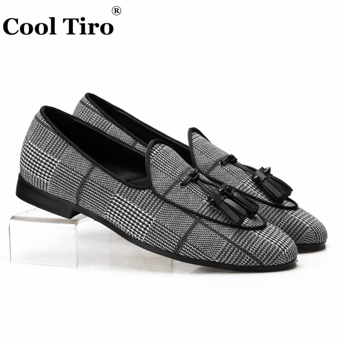 Cool Tiro Gingham Canvas Belgian Loafers Men's Smoking Slippers Moccasins Dress Shoes With Tassels Genuine Leather Casual Shoes