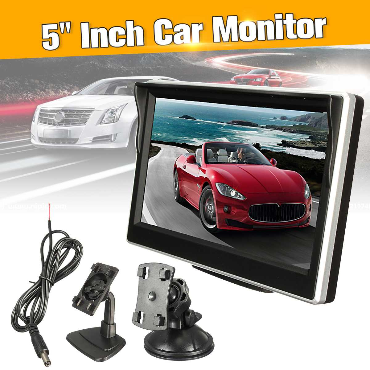 5 inch Color Digital LCD TFT Screen Rear View Monitor For Car Reverse Camera VCR DVD 12V 12.5x8.5x1.8cm PAL/NTSC Compatible5 inch Color Digital LCD TFT Screen Rear View Monitor For Car Reverse Camera VCR DVD 12V 12.5x8.5x1.8cm PAL/NTSC Compatible