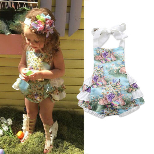 Easter Toddler Kids  Baby Girls Rabbit Romper Bodysuit Jumpsuit Outfits Sunsuit