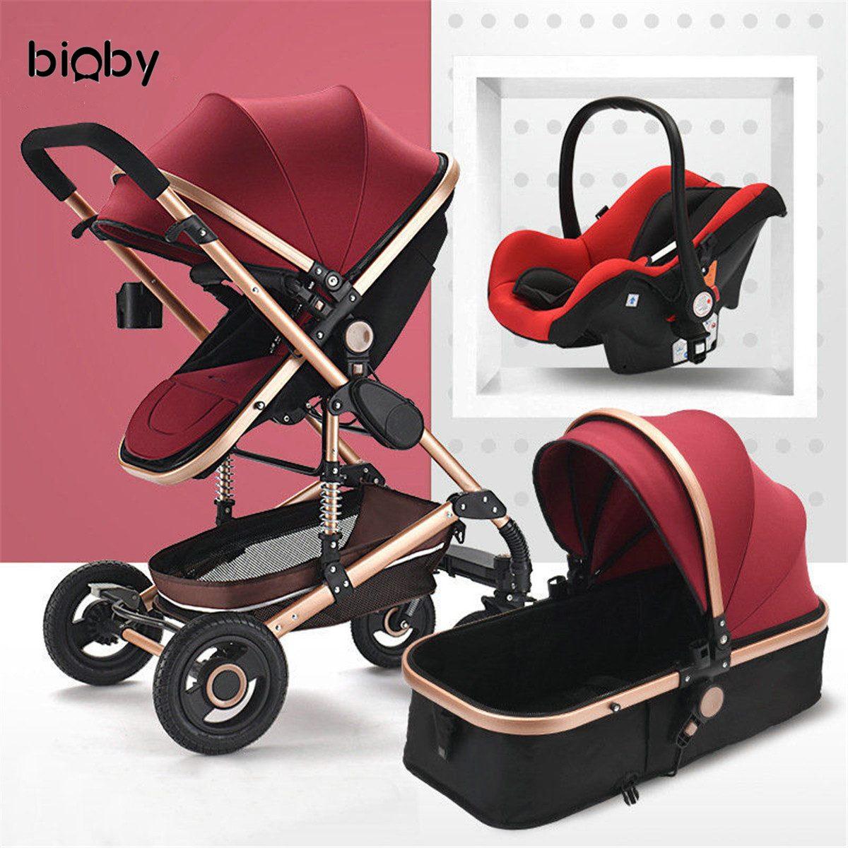 Poussette bébé 3 en 1 couffin siège de sécurité voiture pliable chariot poussette couché panier de couchage Highview landau 0-4 ans 4 saisons