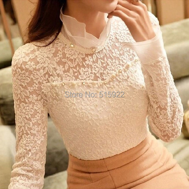 New 2015 Ruffled Collar Long Sleeve Blouses Shirts with Beaded  Plus Size Lace Women Blouse Women Clothing Blusas Femininas 59A0