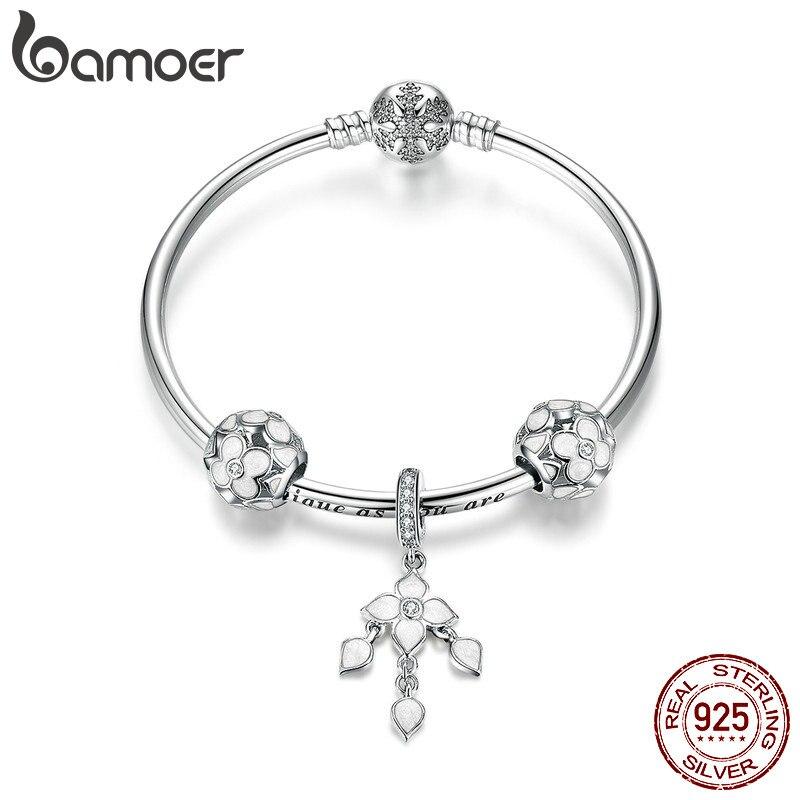 BAMOER 100% 925 Sterling Argent trèfle à Quatre feuilles bracelets porte-bonheur pour Femmes Flocon De Neige bracelets à fermoir & Bangles Bijoux SCB812