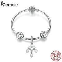 BAMOER 100% 925 Sterling Silver Four leaf clover Charm Bracelets for Women Snowflake Clasp Bracelets & Bangles Jewelry SCB812