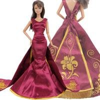 Limited Collection Luxury Princess Dress Wedding Party Wear Copy Rapunzel Queen Gown Clothes for Barbie Doll Accessories Toy