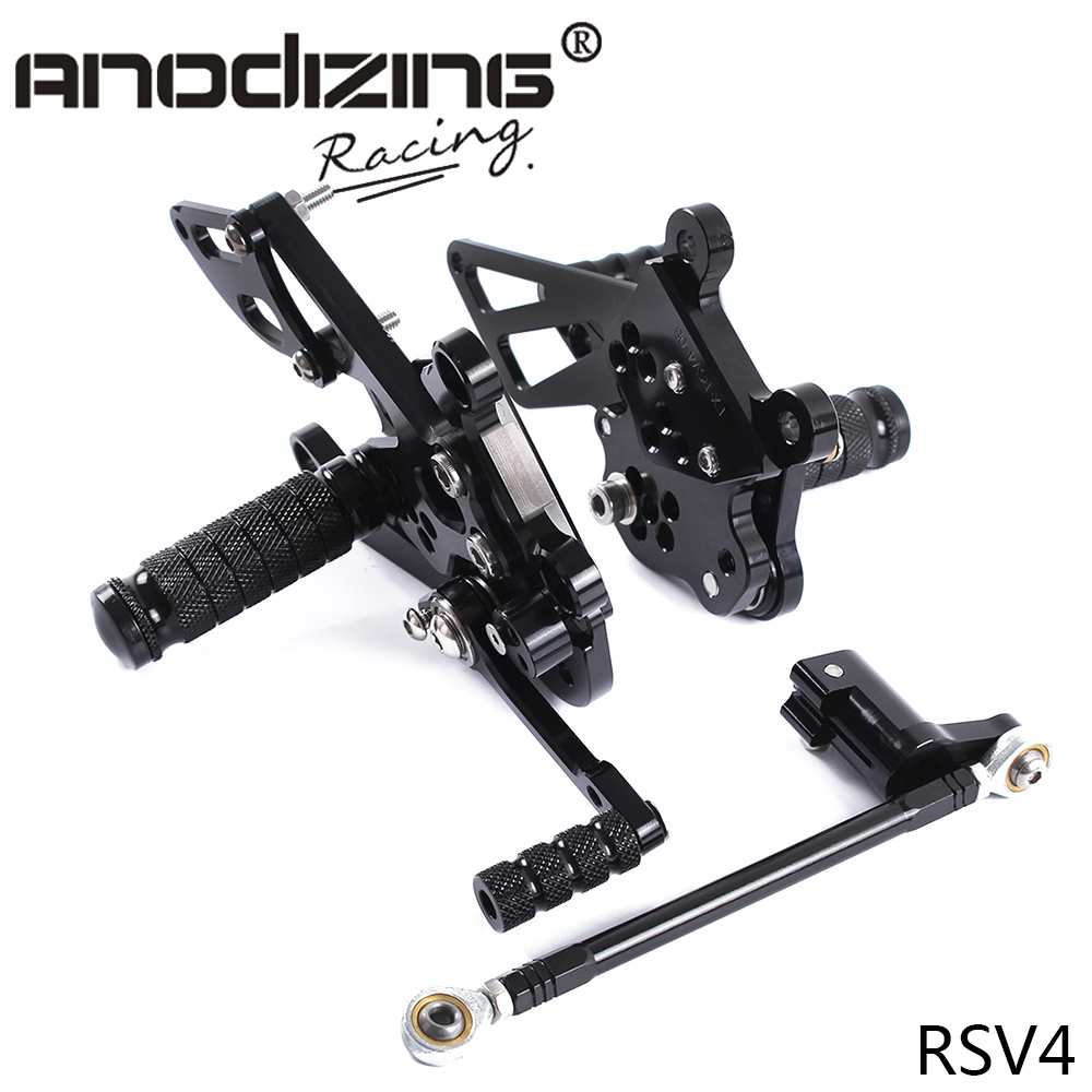 Full CNC Aluminum Motorcycle Adjustable Rearsets Rear Sets Foot Pegs footrest  For Aprilia RSV4 RSV 4 2009 2011-in Foot Rests from Automobiles & Motorcycles    1