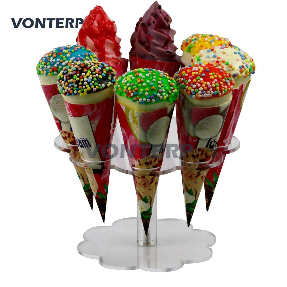 HMROVOOM 8 holes Acrylic ice cream rack/Detachable Holes Ice Cream Cone Holder Stand