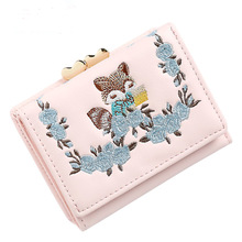 New ladys purse embroidery cute fashion fox three fold short frosted student PU iron frame wallet