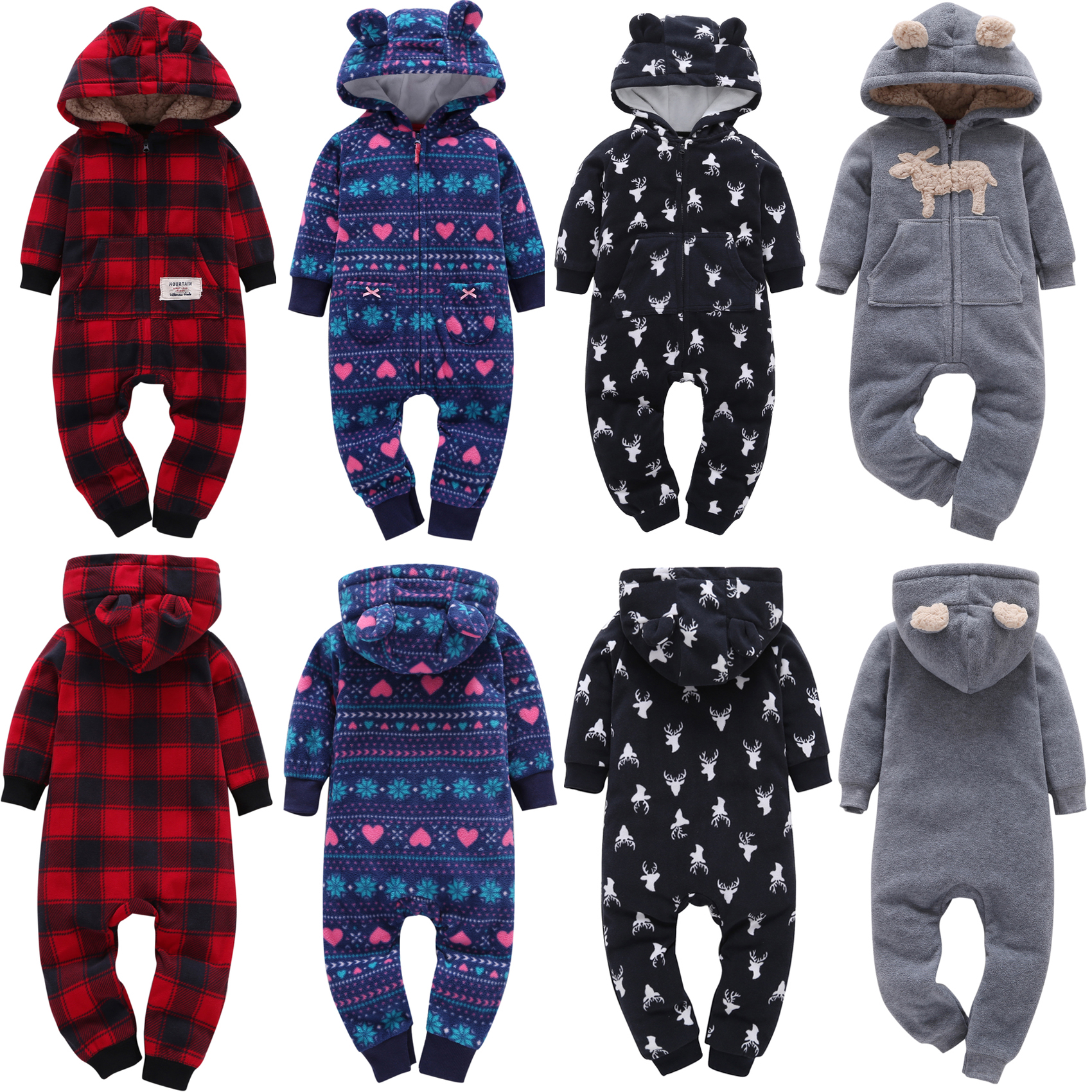 Pudcoco New Born Baby Clothes Winter Warm   Romper   Jumpsuits Cute Rabbit Ears   Rompers   Cartoon Christmas Clothes Hooded Wool Outfit