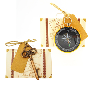 20pcs/lot Wedding Party Candy Box with Traveling Guests Compass Key Bottle Opener Party Favors Gifts Supplies LD002