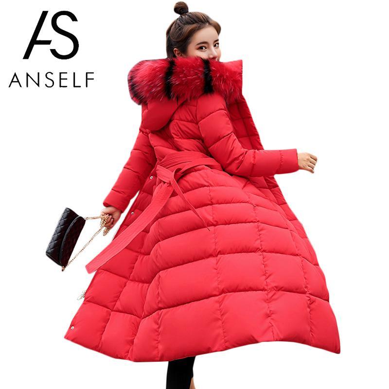 Fashion Women Winter Longline Jacket Fur Collar Hooded Long Sleeve Down Cotton Coat   Parka   Warm Thicken Outerwear