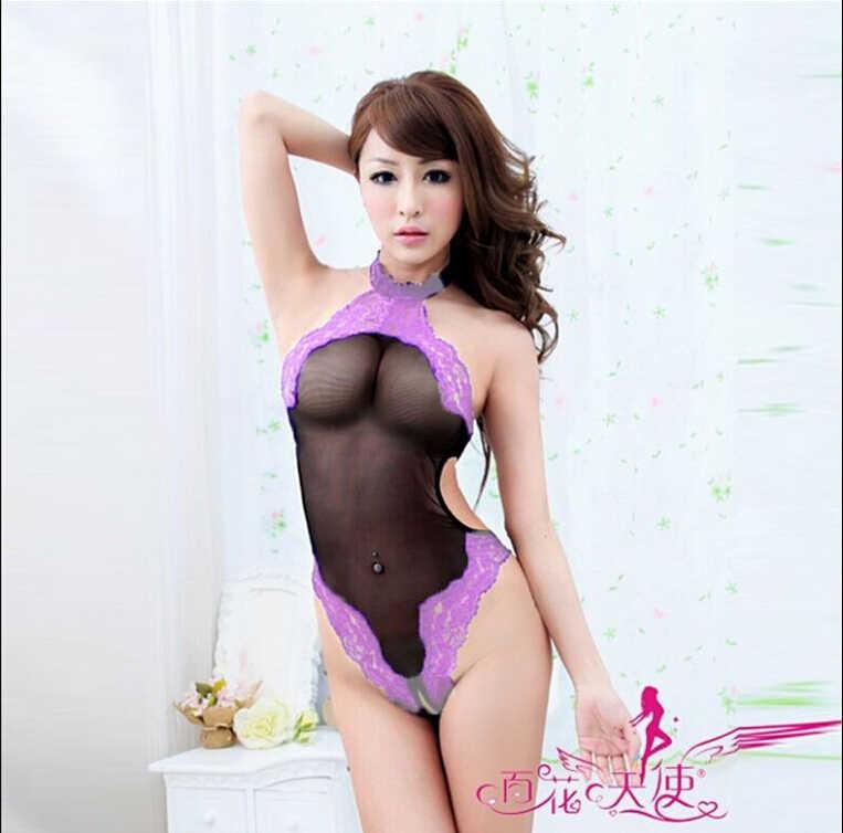 Hirigin ผู้หญิงเซ็กซี่ Exotic เครื่องแต่งกาย Bodysuits ลูกไม้ลูกไม้ชุดชั้นในเซ็กซี่ชุดชั้นในชุดนอน babydoll สีม่วง