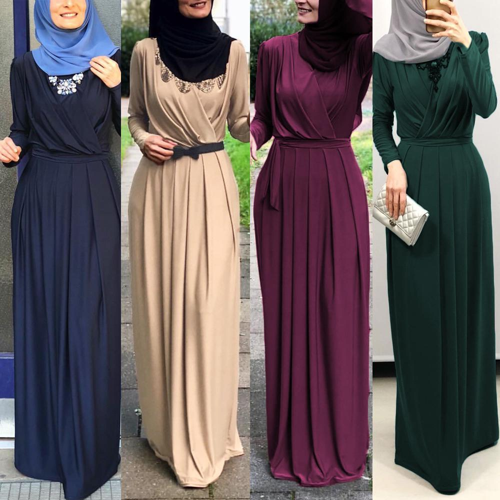 Elegant Women Muslim Maxi Dress Jilbab Abaya Long Sleeve Kaftan Islamic Robe Ramadan Pleated Floor-length Arab Dress Middle East