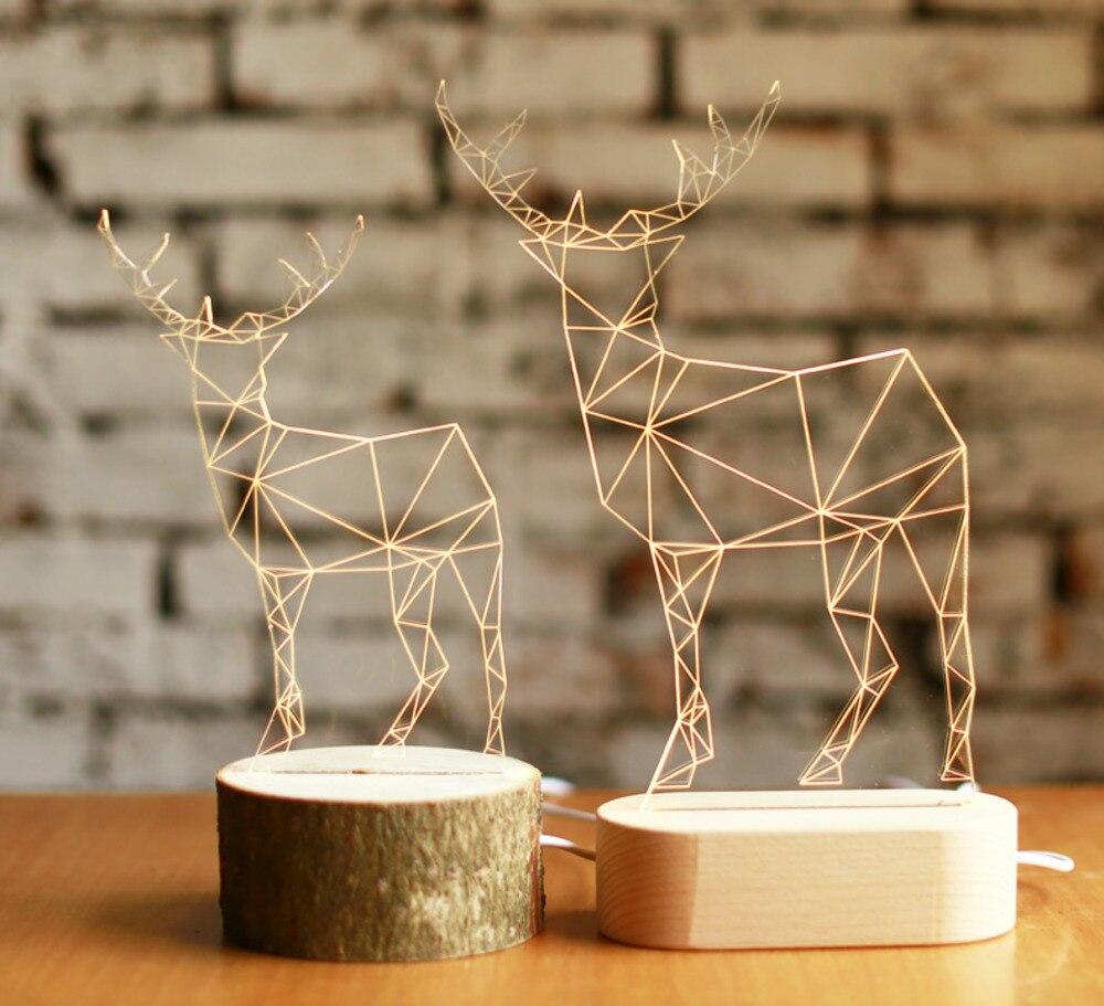 3d Deer Wooden Desk Lamp Elk Creative Table Lights Handcraft Led Night Light Bedroom Christmas Toy Gift Usb Plug