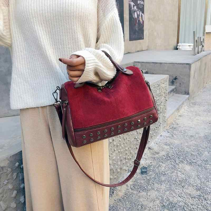 Hot Vintage PU Leather Female Top-handle Bags Rivet Larger Women Bags 2018 New Ladies Shoulder Bag Motorcycle Messenger Bag Z80