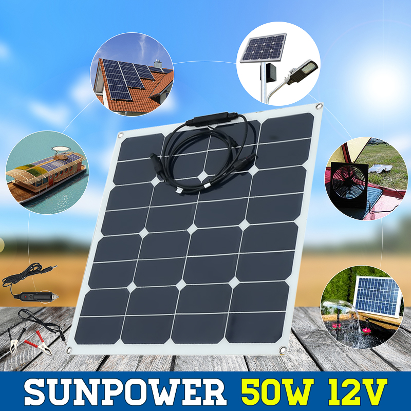 2018 Newest 12V 50W Solar Panel Modules for Fishing Boat Car RV 12V Battery High Effectiveness 50W Solar Charger цена и фото