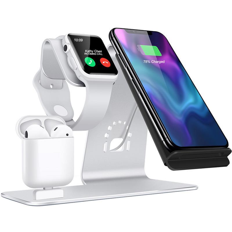 3-en-1 téléphone portable Stand de Support Sans Fil Support de chargeur socle de charge pour iPhone Airpods Support De Charge