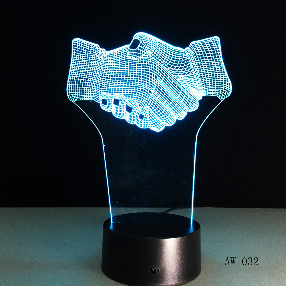 Ręcznie wstrząsnąć 3d wizualne Lampa iluzoryczna przezroczyste akrylowe światło nocne Led Fairy Lampa zmiana koloru stół dotykowy Bulbing AW-032