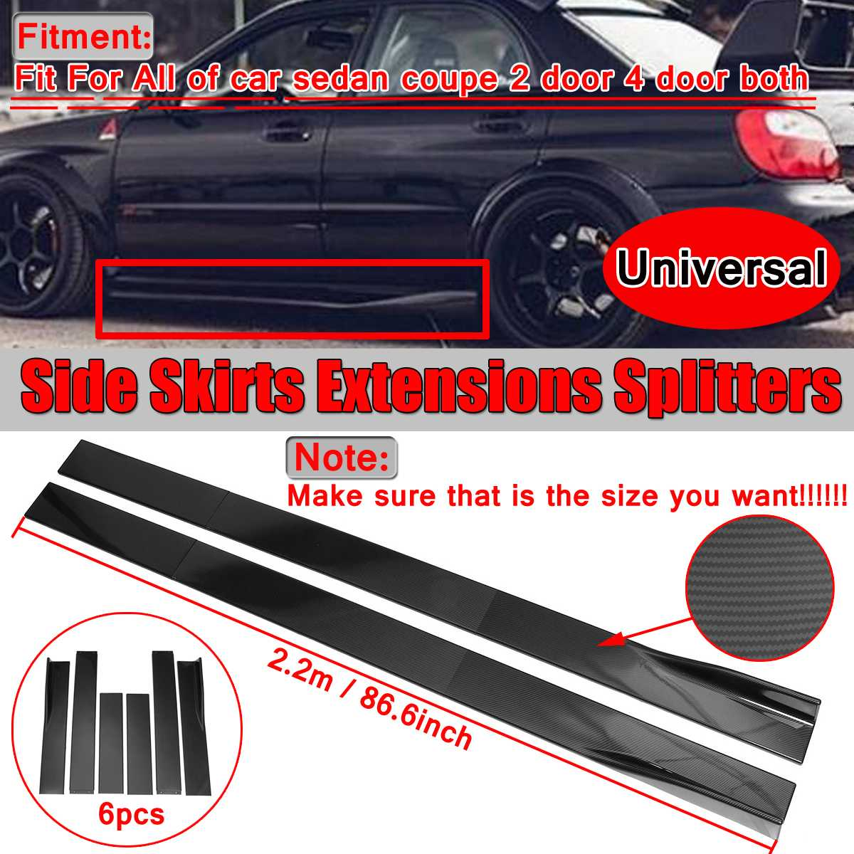 6PCS คาร์บอน/สีดำ 2 M/2.2 M Universal ด้านข้างกระโปรงยาวด้านข้างกระโปรง Winglet Splitters สำหรับ BMW สำหรับ Benz สำหรับ Honda