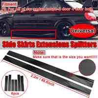 6PCS Carbon Look/Schwarz 2 m/2,2 m Universal Side Rock Extensions Auto Seite Röcke Winglet Splitter lip Für BMW Für Benz Für Honda