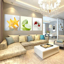 Nordic Fruit Living Room And Kitchen Decoration Canvas Painting 3 Pieces Art Prints