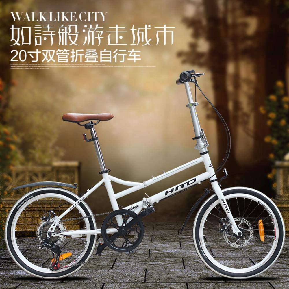 Nouvelle marque double Tube cadre vélo pliant 20 pouces en alliage d'aluminium roue frein à disque Shiman0 femmes vélo enfants route Bicicleta