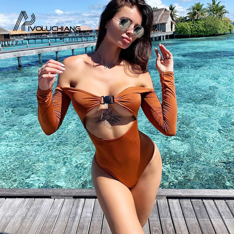 Bright 2019 High Cut Monokini Women Off Shoulder Swimwear Long Sleeve One Piece Swimsuit Female Thong Trikini Hollow Out Bathing Suits Nourishing The Kidneys Relieving Rheumatism Sports & Entertainment
