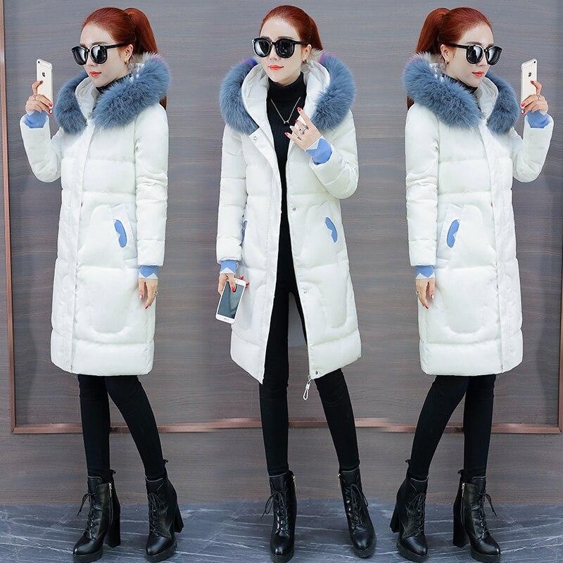 Dans À Fourrure Dames Chaud Épais Capuchon De Parka Col Veste Femmes Hiver P669 Femme black 2018 Le Manteau Manteaux Mode White Coton 8S5w70