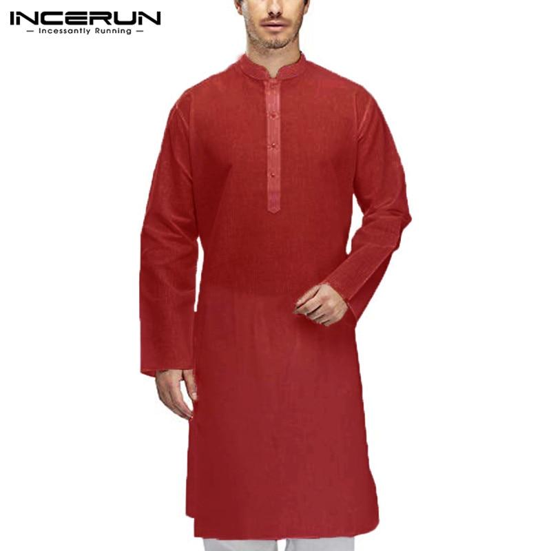 INCERUN Mens Shirt Indian  Suit Long Sleeve 100% Cotton Casual Men Long Shirt Tops Islamic Muslim Clothes Men 2019 S-5XL