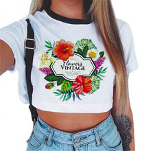 2019 explosion models European and American womens short-sleeved umbilical print T-shirt free shipping