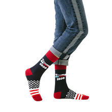 Mens fashion high-heeled cotton socks TRUMP personalized letters casual sports American flag