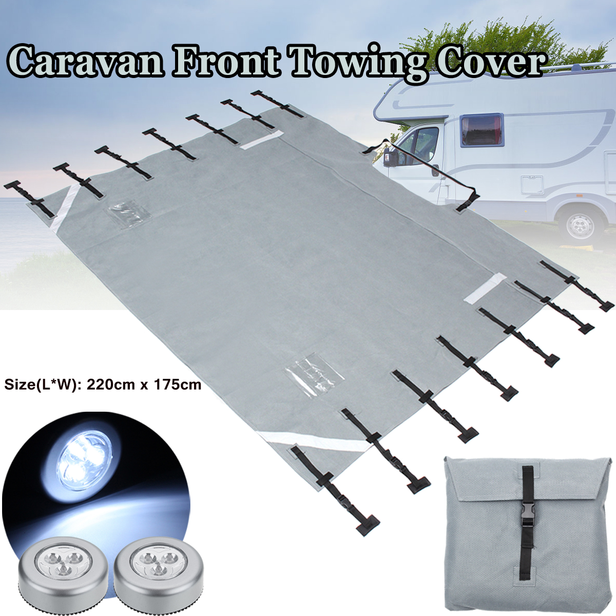Grey Universal Caravan Front Towing Cover Protector Reflective Strips For RV Motorhome With 2 LED Lights
