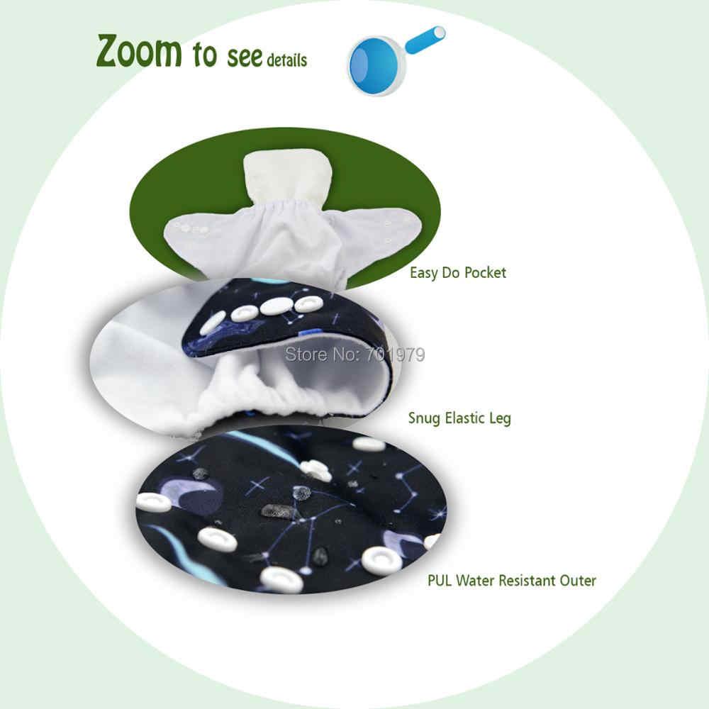 Alvababy Popok Kain Bayi Baru Posisi Digital Dapat Digunakan Kembali Popok dengan Microfiber Insert