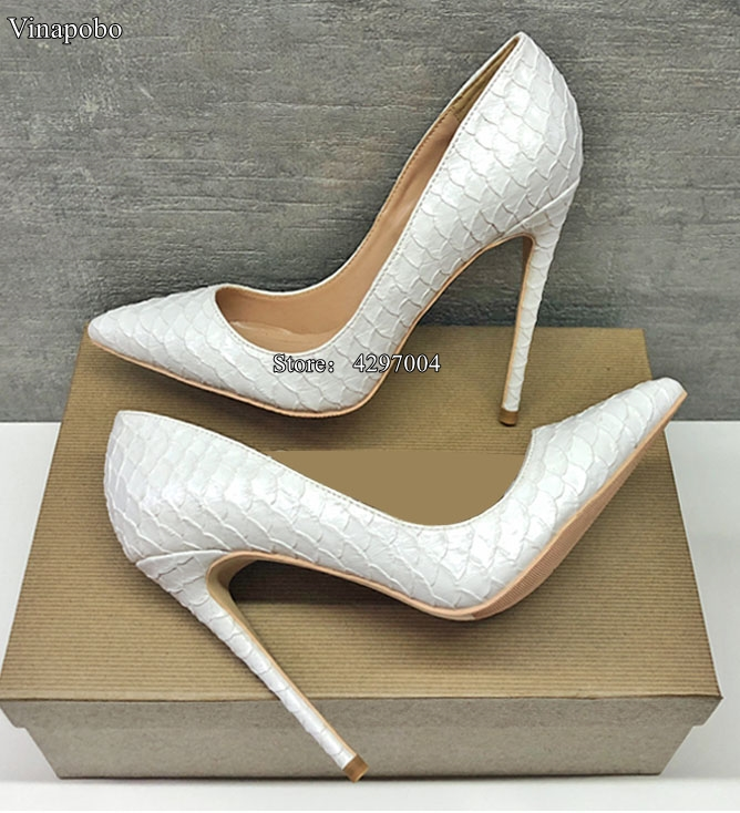 Sexy High Heel Shoes White Snake Print Leather Stilettos Shoes For Women Pointed Toe Slip on Leather Dress Pumps Wedding Shoes-in Women's Pumps from Shoes    1