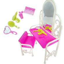 Pink Dressing Table Dollhouse Dresser Set Mirror Table Chair Miniatures Furniture for Barbie Doll Accessories for Blythe Clothes(China)