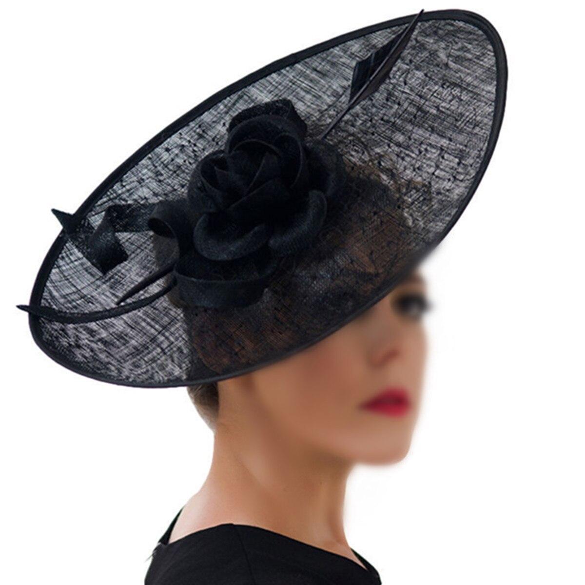 Black White Women Elegant Feather Fascinator Large Sinamay Flower Headband Mesh Party Headdress Top Hat Wedding Hair Accessories