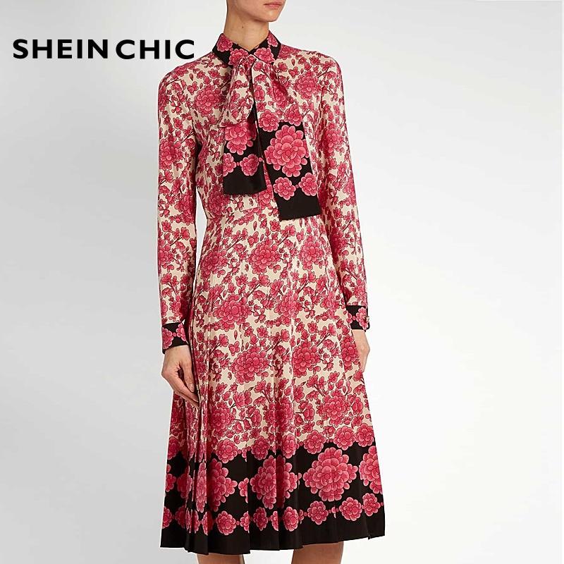 Designer piste printemps mode femmes robe bohème plage fête Chic robe élégante Floral imprimé arc abeilles ceinture robe Midi