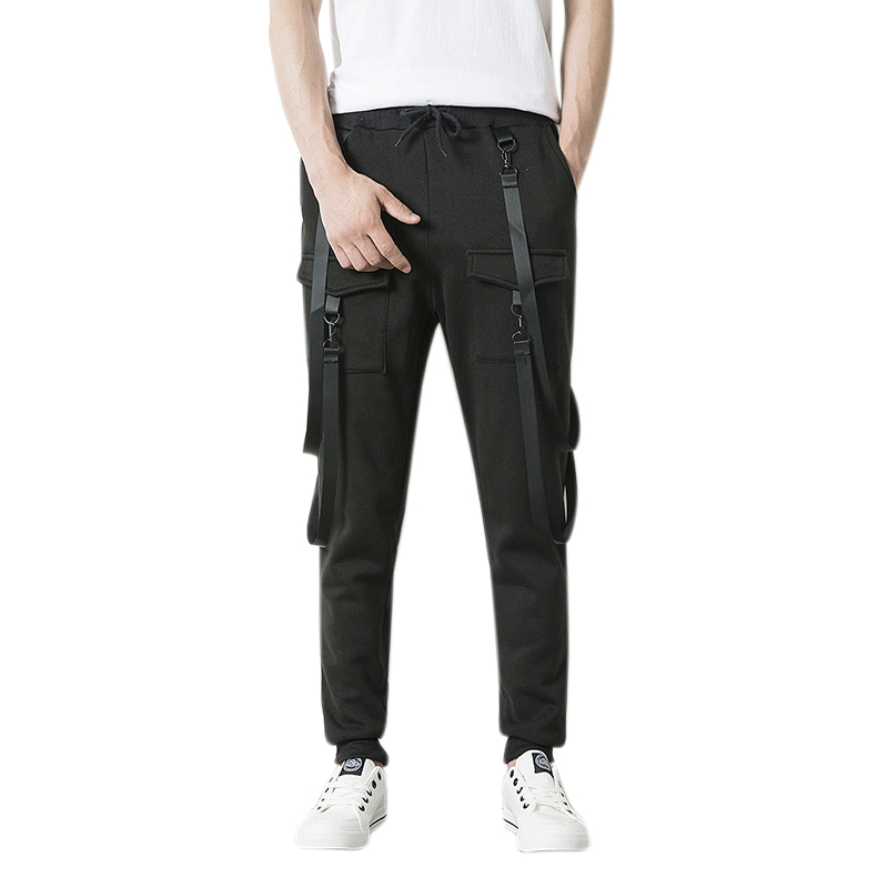Men Fashion Hip Hop Drawstring Elastic Waist Multi-pocket Cargo Pants Jogger Pants Male Casual Solid Color Sweatpants Sport Pa