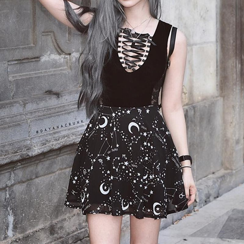 6a5f7e3ce20 US $17.93 46% OFF|Mini Skirt Women Trendy Brand Gothic Moon Print Summer  2019 High Waist Preppy Style A Line Goth Street Casual Black Skirts Girl-in  ...