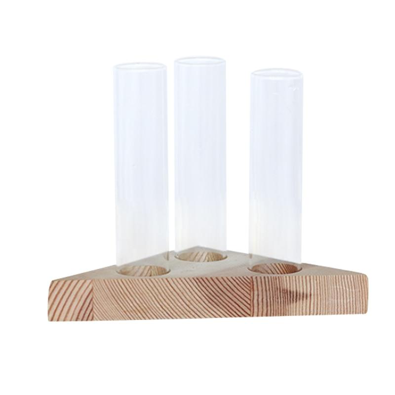 Vaso di fiore di tubi di vetro trasparente di vetro vaso di fiori con stand in legno per le piante idroponiche di prova tubi contenitore casa decorazioni da tavolaVaso di fiore di tubi di vetro trasparente di vetro vaso di fiori con stand in legno per le piante idroponiche di prova tubi contenitore casa decorazioni da tavola