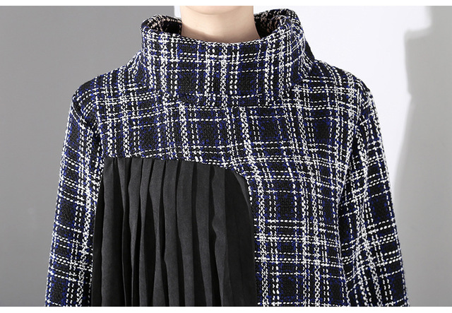 [EAM] 2019 New Spring  Winter High Collar Long Sleeve Black Plaid Printed Side Pleated Stitch Loose Dress Women Fashion JK830 5