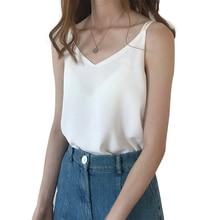 Womens Summer Camis Women Chiffon Sexy Vest Camisole V Neck Sleeveless Strap Tops White Black